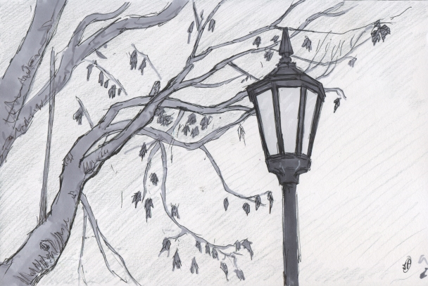 Lampost in a Rainy Winter